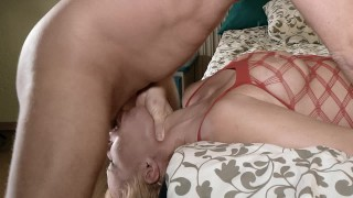 Extreme hardcore sloppy upside down deepthroat and oral creampie.