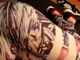 Yong teen mom workout and give step brother a handjob in yoga pants