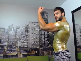 Raz Muscle flexing in tight cloths