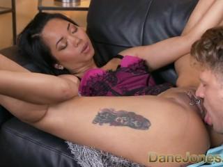 Dane Jones Horny tattooed pierced Thai girl in lingerie takes anal creampie