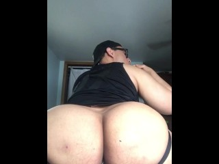 Fat Ass Rides Dildo and Eats Cum