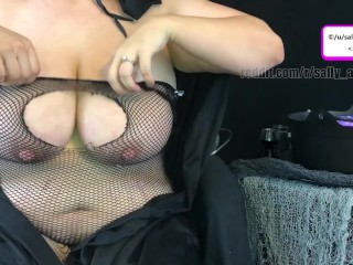 witch milf pumps milk from huge tits to finish potion