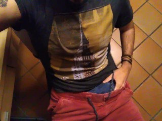Hot guy jerks off and cums in front of a mirror