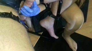 Femdom Bondage Cock Massage and Anal Sexmachine  ass fuck latex gloves pvc wrapped handjob torture anal play femdom milking slave bdsm amateur cum bondage orgasm prostate orgasm kink anal chair pip tied handjob milking