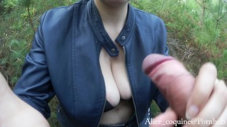 Preview 4 of Tittyfuck and Facial in the Forest, Busty Teen loves cum !
