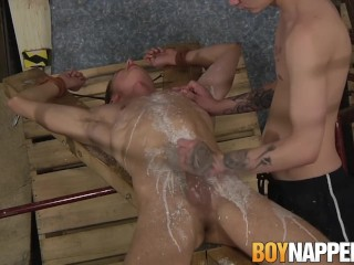 Mean twink Charley Cole smokes while torturing Billy Rock