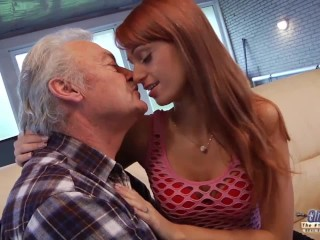 old man falls in love with the beautiful young redhead and fucks her pussy