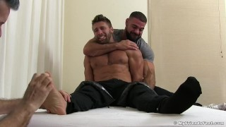 Ripped hunk Blayne is restrained and tickled by two dudes