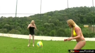 Preview 2 of Four blonde chicks with dicks play volleyball and strip down
