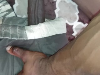 Fucks pillow thinking about her wet pussy