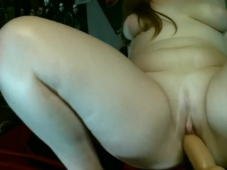 Riding Your Cock   Natural Redhead PAWG Riding a Large Dildo Till She Cums