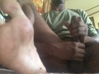 Cumshot close up (focus on my feet)