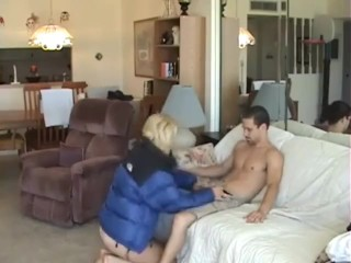 puffy woman fucking men on the couch.