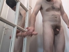 Straight guy rams his ass very hard using door as fuck machine - end in a2m