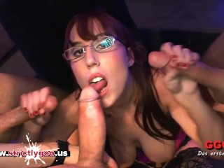 Nerd Fiona gets her Big Tits cum covered - German Goo Girls
