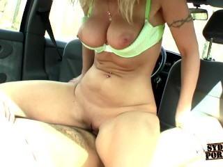 Busty Beautiful Amateur Blonde Fucks In The Car!