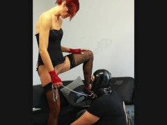 Polish Sexy Redhead Wife make Her Husband to drink piss from her pussy!
