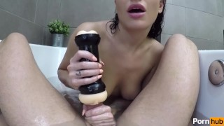 Preview 6 of Kissa Sins Uses the Pornhub Double Penetration Stroker on Johnny