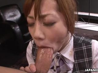 Slutty Japanese secretary enjoys a rough threesome in the office
