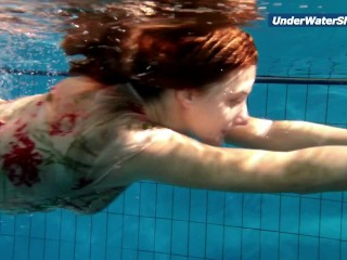 Slowmo teen in Czech swimming