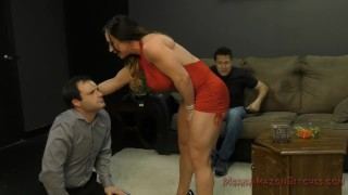 Battered Husband and his Muscle Queen WIfe- Femdom  fitness babe female muscle face sitting slave asslicking mom kink rimming domme butt mother muscle foot worship meanamazonbitches mean bitches femdom ass worship lick her asshole