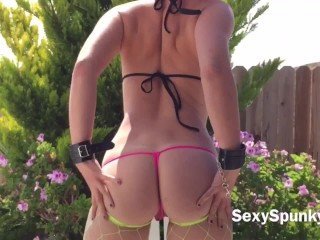 Outdoor Anal Vibrator Fucking and Butt Plug in My Backyard