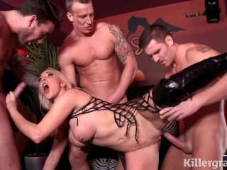 Killergram Victoria Summers gangbanged by 3 horny big cock studs