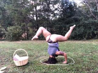 Outdoor yoga in panties