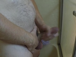 Daddy peeing and shaving in the shower, then masturbating. Part 2 of 2.