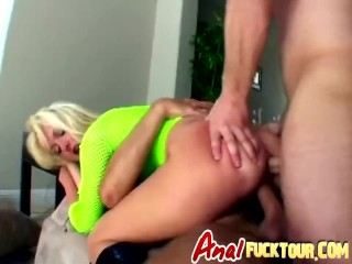 Robust blonde babe is a cheap slut who enjoys being double penetrated