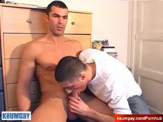 Nickolas Cute Hetero's hard cock to suck in spite of him.