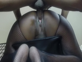Ebony Fucked on Bar Stool Pt:1