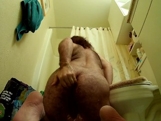 Huge glass toy anal gape male fisting | Guy gapes with toy in ass, fists it