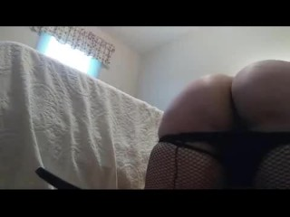 Sexy Plumper in Fishnets& heels spreads ass, talks dirty, cums w buttplug