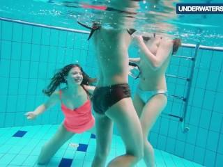 Three hot horny girls swim together