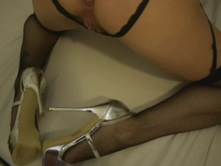 Hot milf with lingerie and heels. Hass hole close up. Big cunt.