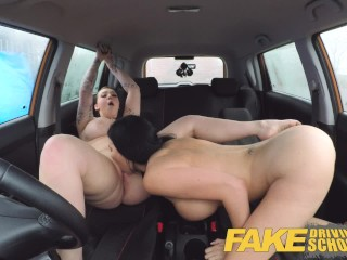 Fake Driving School Jailbird with big tits tastes examiners shaven pussy
