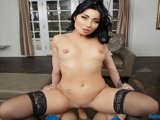 BaDoinkVR.com Asian Babe With Pierced Nipples Rina Ellis Fucks You In POV