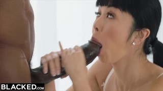 BLACKED Japanese Journalist vs The BIGGEST BBC IN THE WORLD  dick, blowjob, bbc, hairy, hairy asian big asian, brunette bush, interracial, cock, brunette, pussy, facial, lingerie, cowgirl, doggystyle,