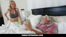 FamilyStrokes - Horny Housewife Fucks Stepson While Husband Sleeps
