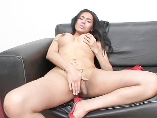 Dark haired trans girl sucking big cock POV