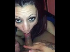 Slut sucks drug a addict dick