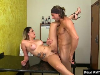 Sexy shemale Bella Atrix gets her small cock sucked before barebacked