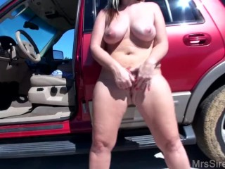 Wife Stuffing Panties and Naked Outside