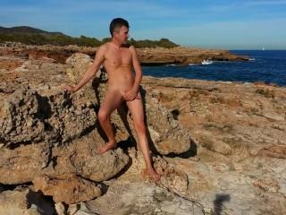 Anal orgasm on lava beach