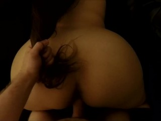 BIG ASS SLAPPED, LONG HAIR PULLED, POV DOGGY STYLE FUCK AND CUM TOGETHER