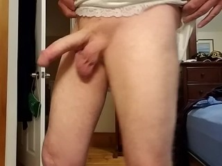 Jerking my big cock off in my satin slip! Damn it's big and fat!