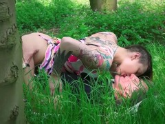 Old guy stalking teen in the woods and fucks her tight pussy