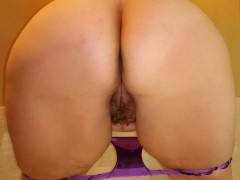 Hairy BBW Milf Purple Panty Piss Standing Rear View In Casino Hotel Tub
