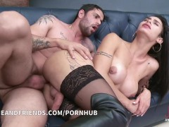 Shemale Mariana De Castro sofa sex with guy passive and active with cumshot